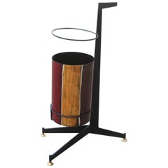 Umbrella Stand Poggibonsi Siva Design Midcentury Italian Enamel Iron Black