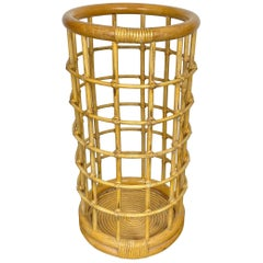 Umbrella Stand, Rattan Bamboo, Italy, 1960s