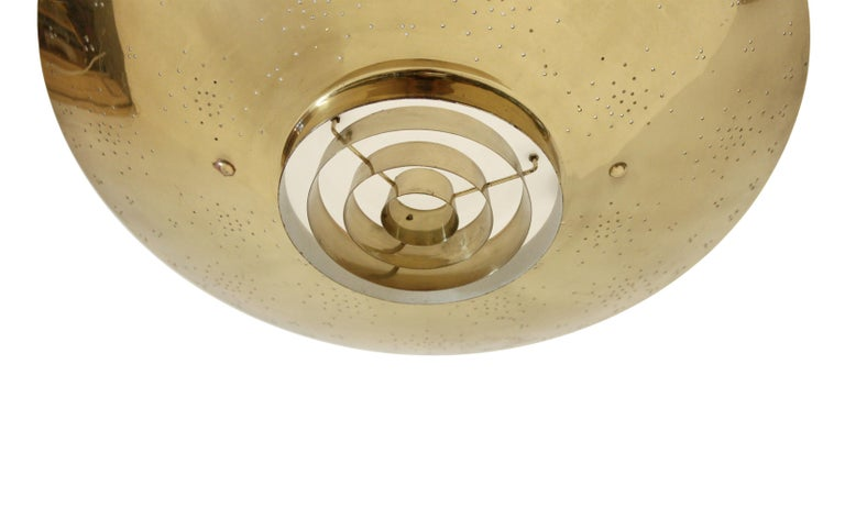 Mid-Century Modern 'Un' Ceiling Lamp in Brass by Paavo Tynell, Finland, 1950s For Sale