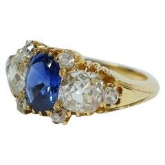 Un-Heated Kashmir Sapphire and Old Cut Diamonds