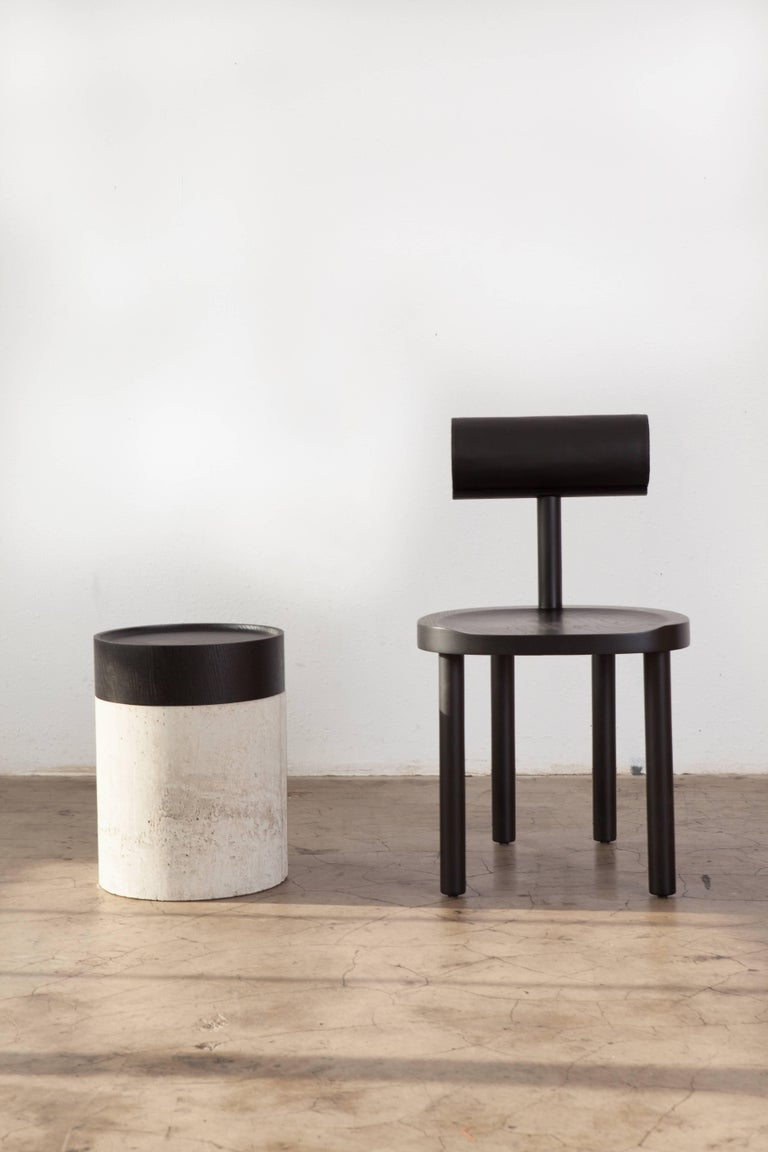 UNA Dining Chair in Black Stained Oak with Leather Back by Estudio Persona For Sale 5