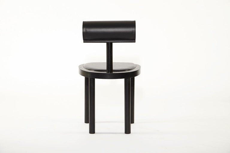 UNA Leather Upholstered Dining Chair in Black Stained Oak by Estudio Persona In New Condition For Sale In Los Angeles, CA