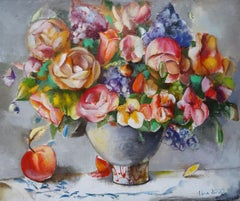 Still life with flowers and apple. 2020. Oil on canvas, 61x73 cm