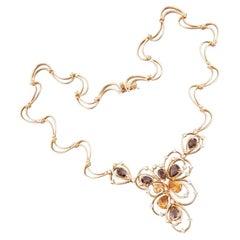Unbelievable Quartz Citrine Diamond White 18 Karat Yellow Gold Necklace
