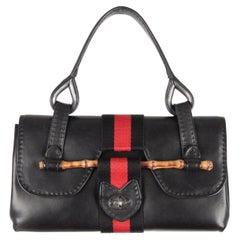 Unbranded Black Leather Handbag Satchel Bamboo Detail