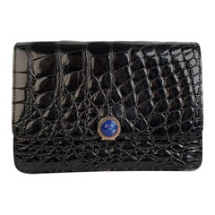 Unbranded Vintage Black Crocodile Leather Clutch Evening Bag Purse Handbag