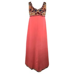 Unbranded Vintage Made in Italy Pink Sleeveless Embellished Gown Evening Dress