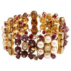 Uncut Diamond, Pearl and Ruby Bracelet