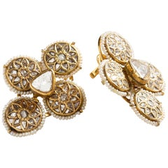 Uncut Diamond Wallflower Earrings in 22 Karat Gold