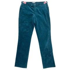 Under Cover Jun Takahashi Turquoise Corduroy Velvet Skinny Pants Size S