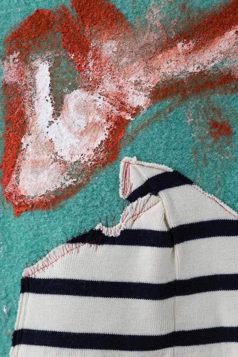 'Under Storm Stripes' Quilt Painting Wool Tapestry Textile Art, in Stock In New Condition For Sale In Brooklyn, NY