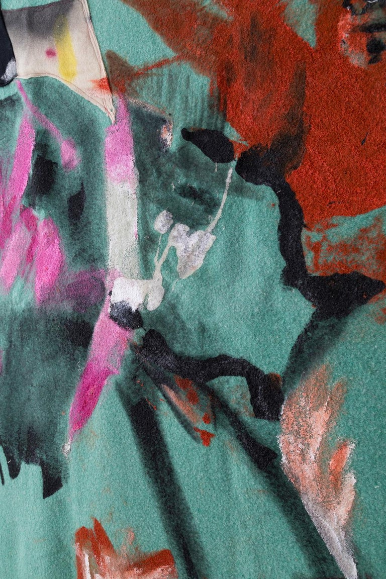 Contemporary 'Under Storm Stripes' Quilt Painting Wool Tapestry Textile Art, in Stock For Sale