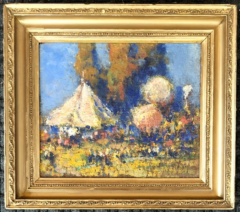 Oil on board in early frame. Signed on back of panel. 1864-1929 John C. Huffington was a self-taught artist who painted scenes he encountered in his travels along the northeastern coast of the United States. Born in Brooklyn in 1864, he learned