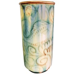 """Under the Sea,"" Atmospheric Art Deco Vase with Fish and Seaweed, 1944"