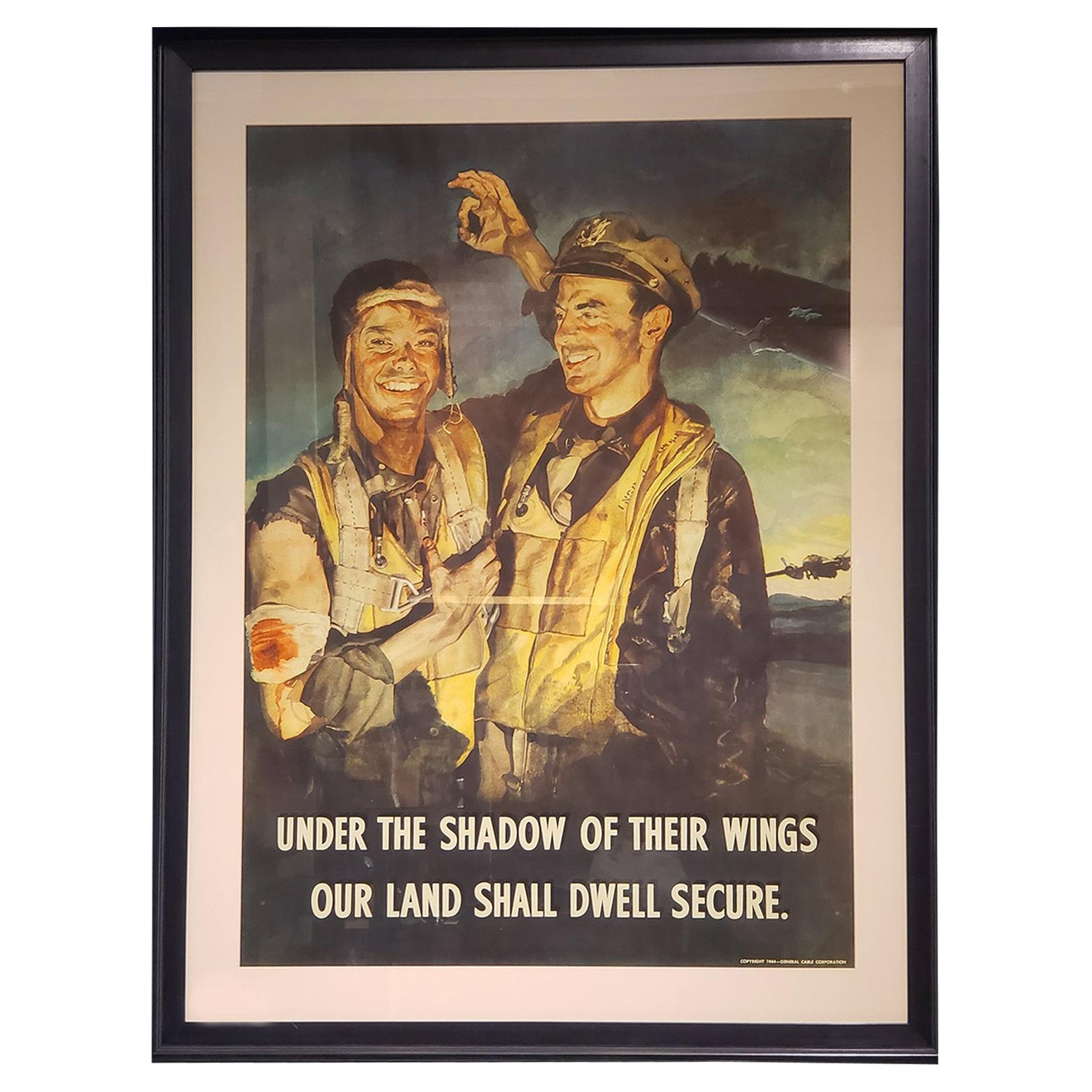 """""""Under the Shadow of Their Wings, Our Lands Shall Dwell Secure"""" WWII Poster"""
