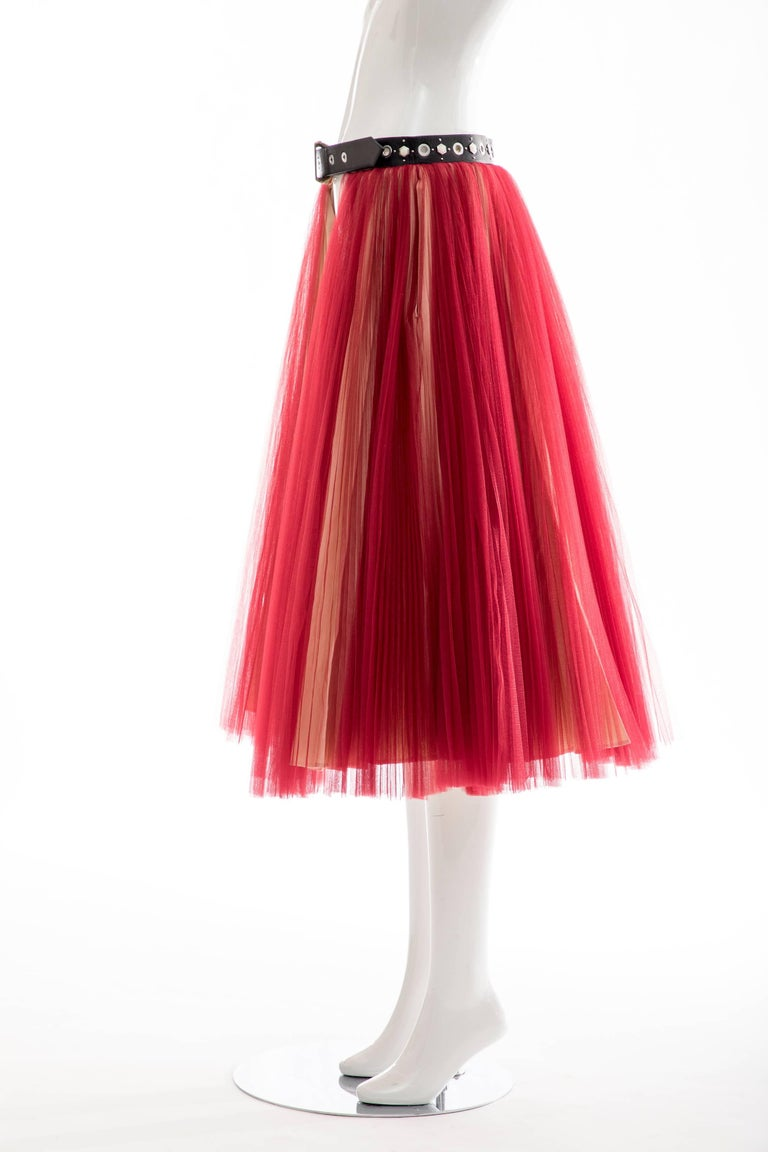 Undercover - Jun Takahashi Red Tulle Silver Pleated Skirt, Spring 2016 For Sale 6