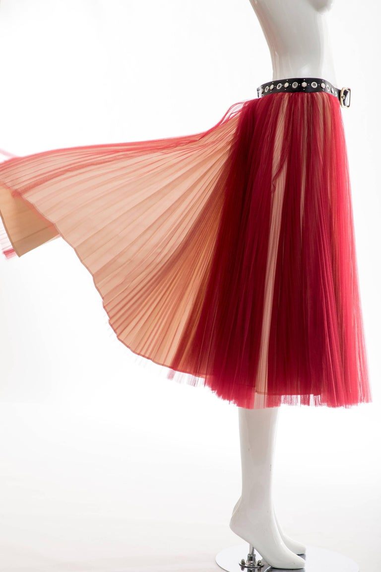Undercover - Jun Takahashi Red Tulle Silver Pleated Skirt, Spring 2016 For Sale 7