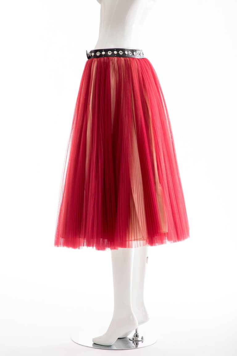 Undercover - Jun Takahashi Red Tulle Silver Pleated Skirt, Spring 2016 For Sale 8