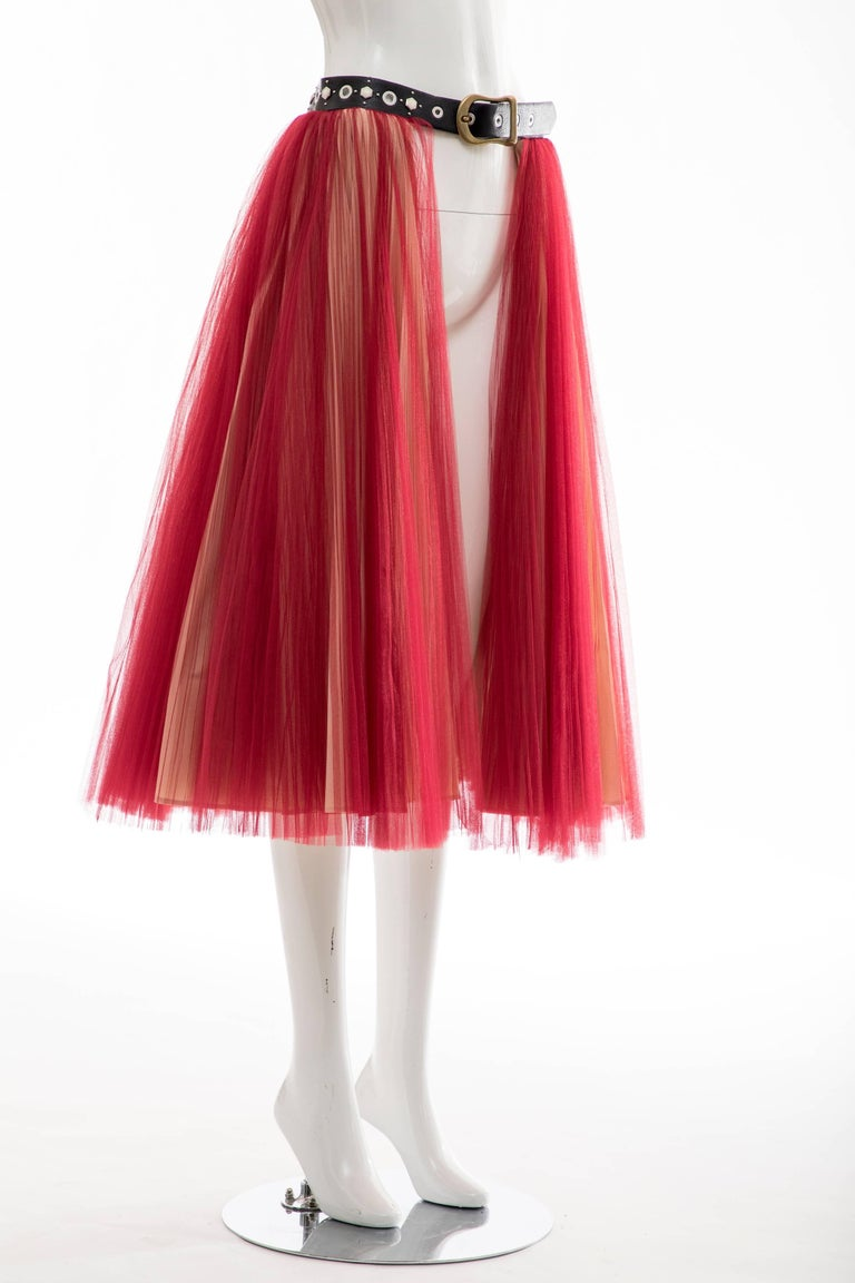 Women's or Men's Undercover - Jun Takahashi Red Tulle Silver Pleated Skirt, Spring 2016 For Sale