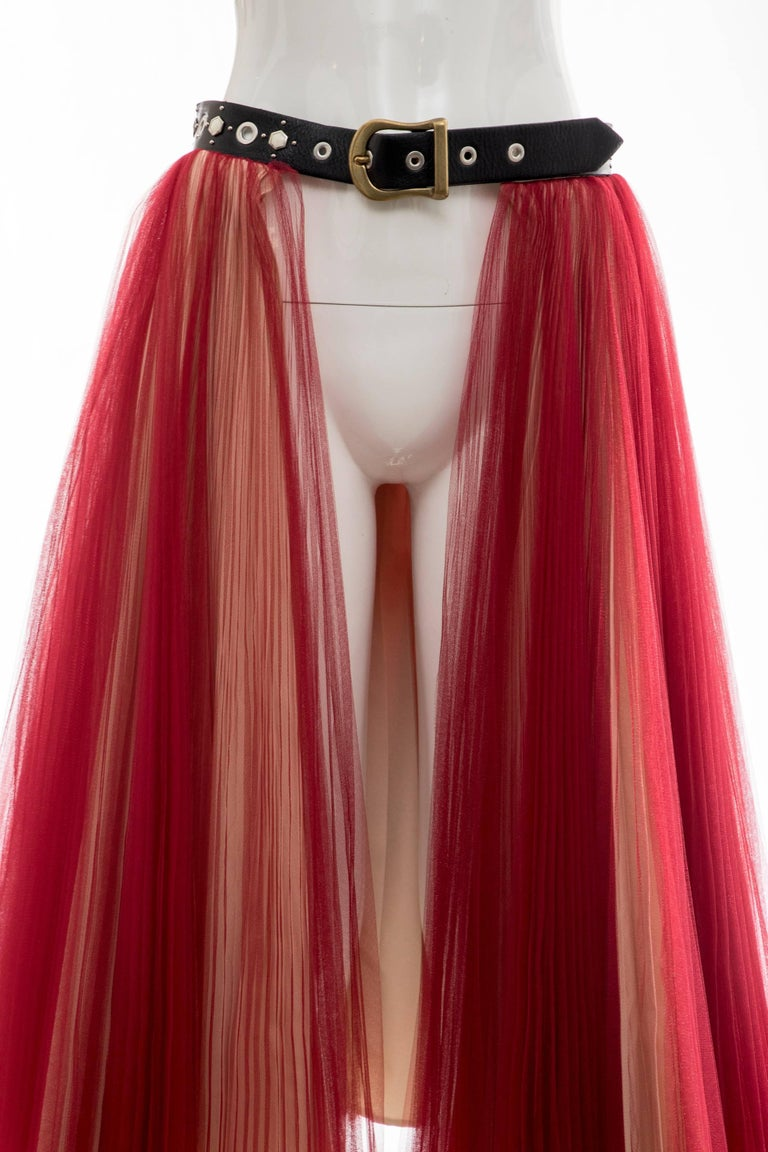 Undercover - Jun Takahashi Red Tulle Silver Pleated Skirt, Spring 2016 For Sale 1