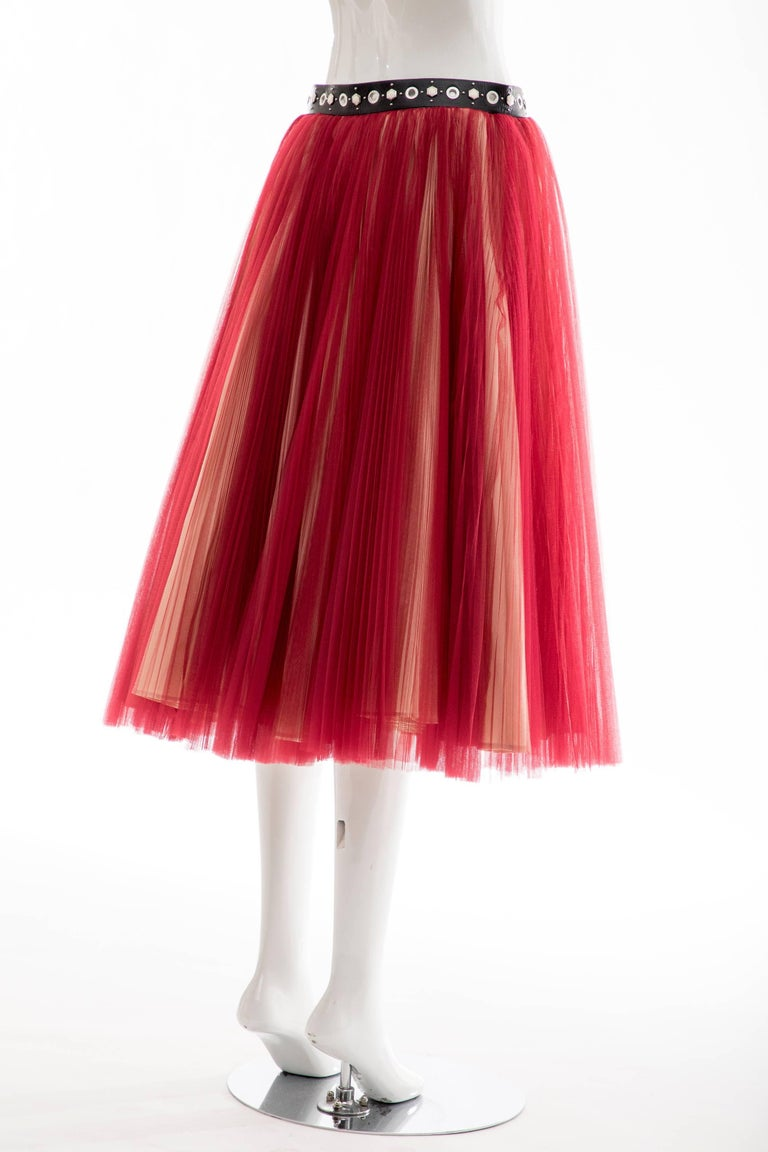 Undercover - Jun Takahashi Red Tulle Silver Pleated Skirt, Spring 2016 For Sale 3