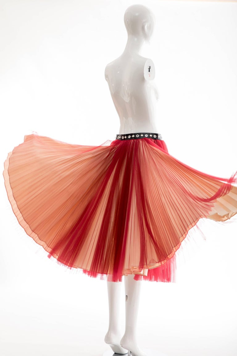 Undercover - Jun Takahashi Red Tulle Silver Pleated Skirt, Spring 2016 For Sale 4