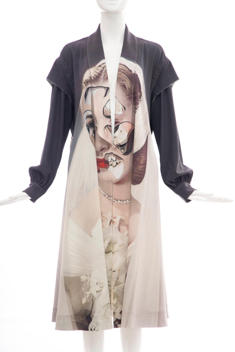 Brown  Undercover Jun Takahashi Collage Artist Matthieu Bourel Print Coat, Fall 2016 For Sale
