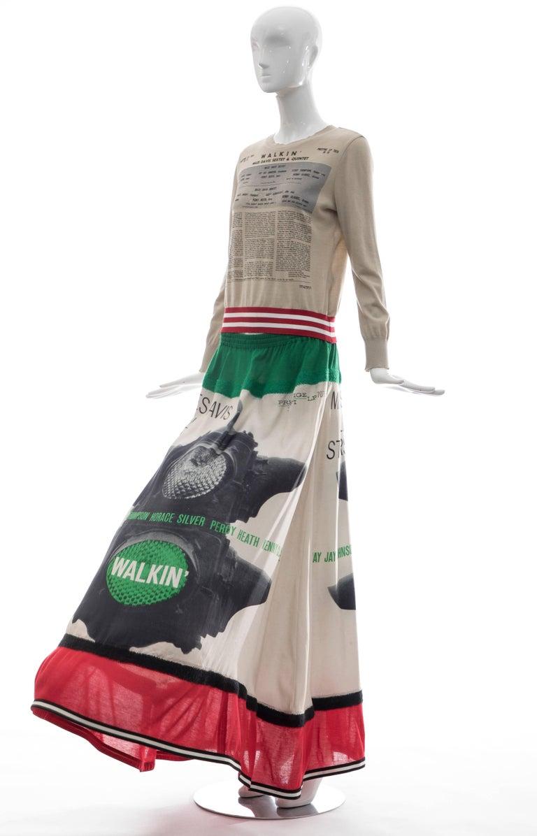 Jun Takahashi Undercover Silk Cotton Miles Davis Print Skirt Suit, Spring 2017 For Sale 5