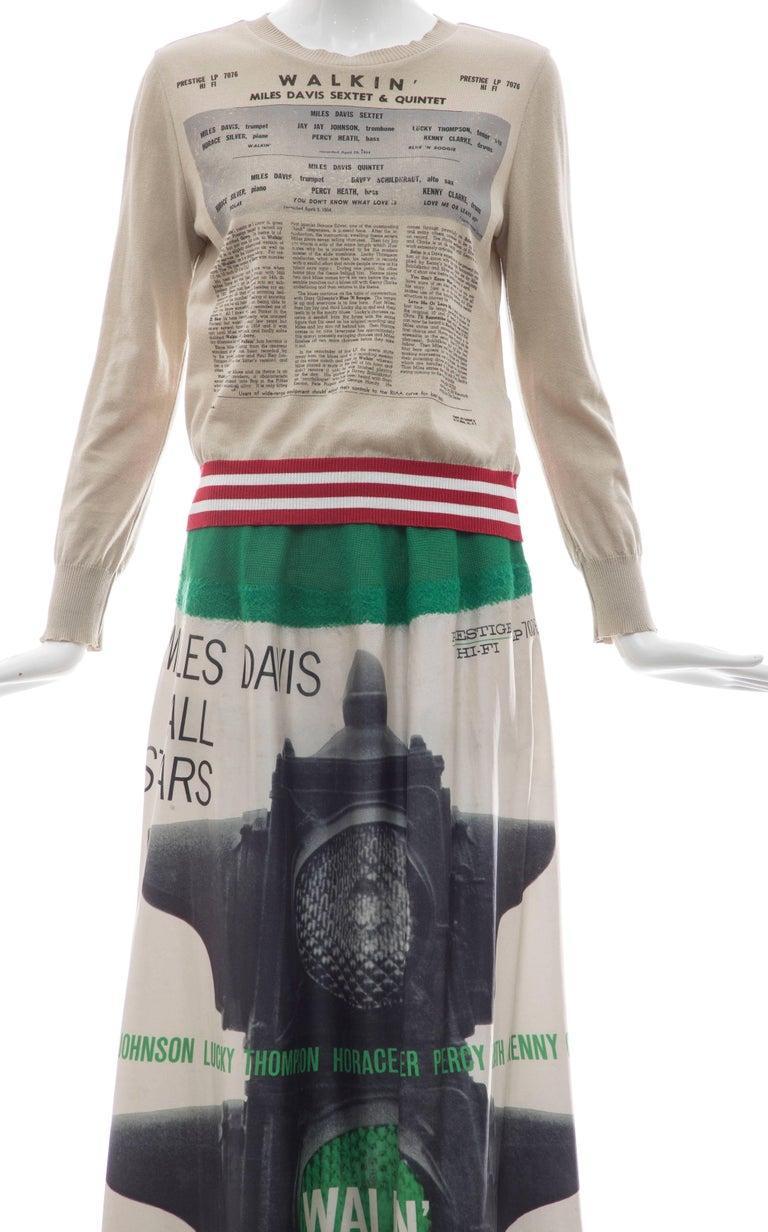 Jun Takahashi Undercover Silk Cotton Miles Davis Print Skirt Suit, Spring 2017 For Sale 6
