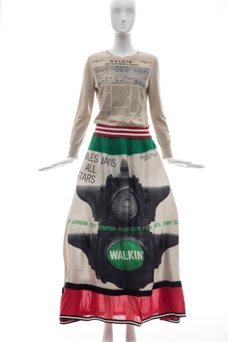 Jun Takahashi Undercover Silk Cotton Miles Davis Print Skirt Suit, Spring 2017 In Excellent Condition For Sale In Cincinnati, OH
