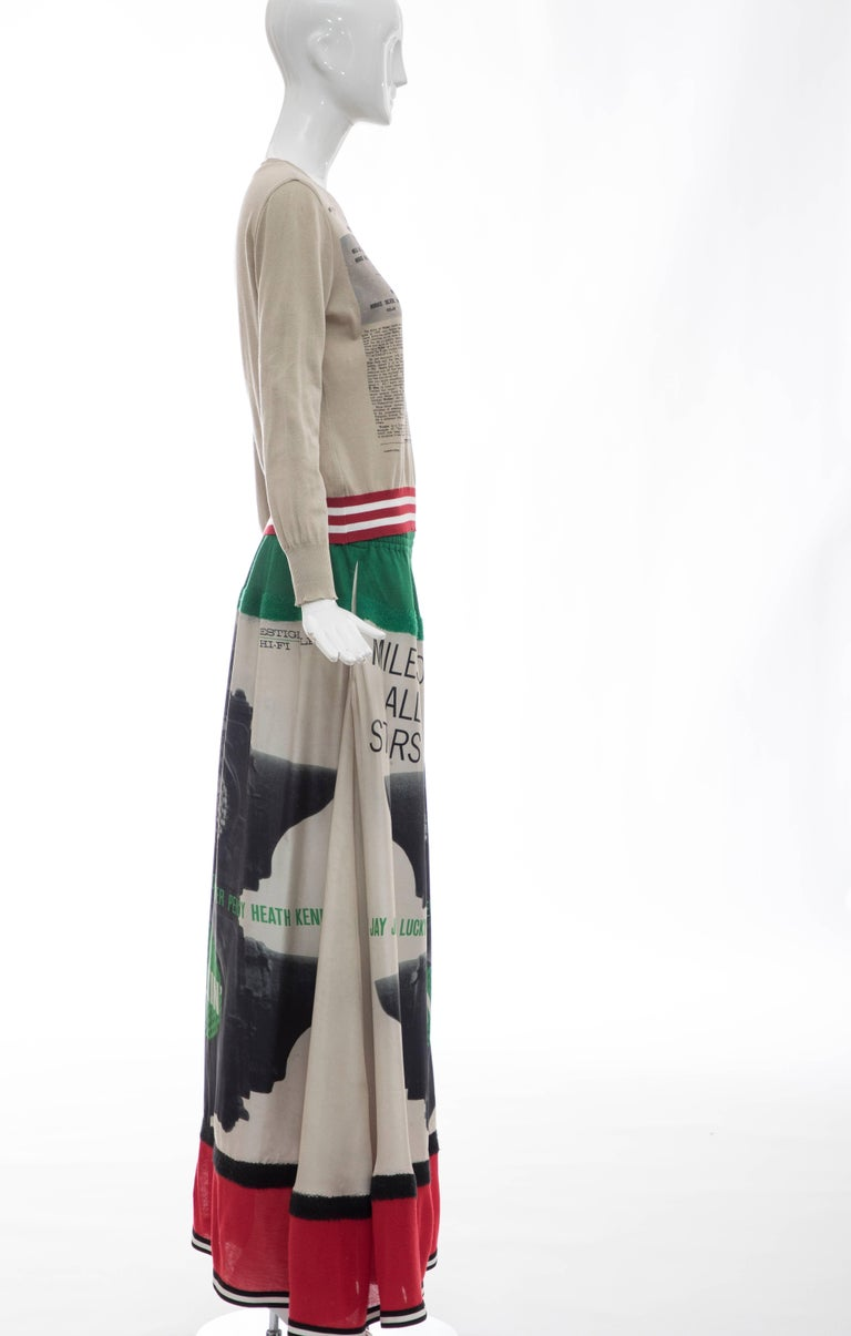 Jun Takahashi Undercover Silk Cotton Miles Davis Print Skirt Suit, Spring 2017 For Sale 1