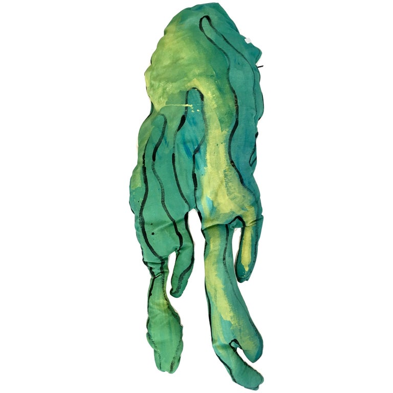 Underwater Coussin / Hand-Painted Oversized Green Throw Pillow by Superpoly For Sale