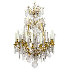 Undulating Eighteen-Arm Gilded Bronze Birdcage Chandelier