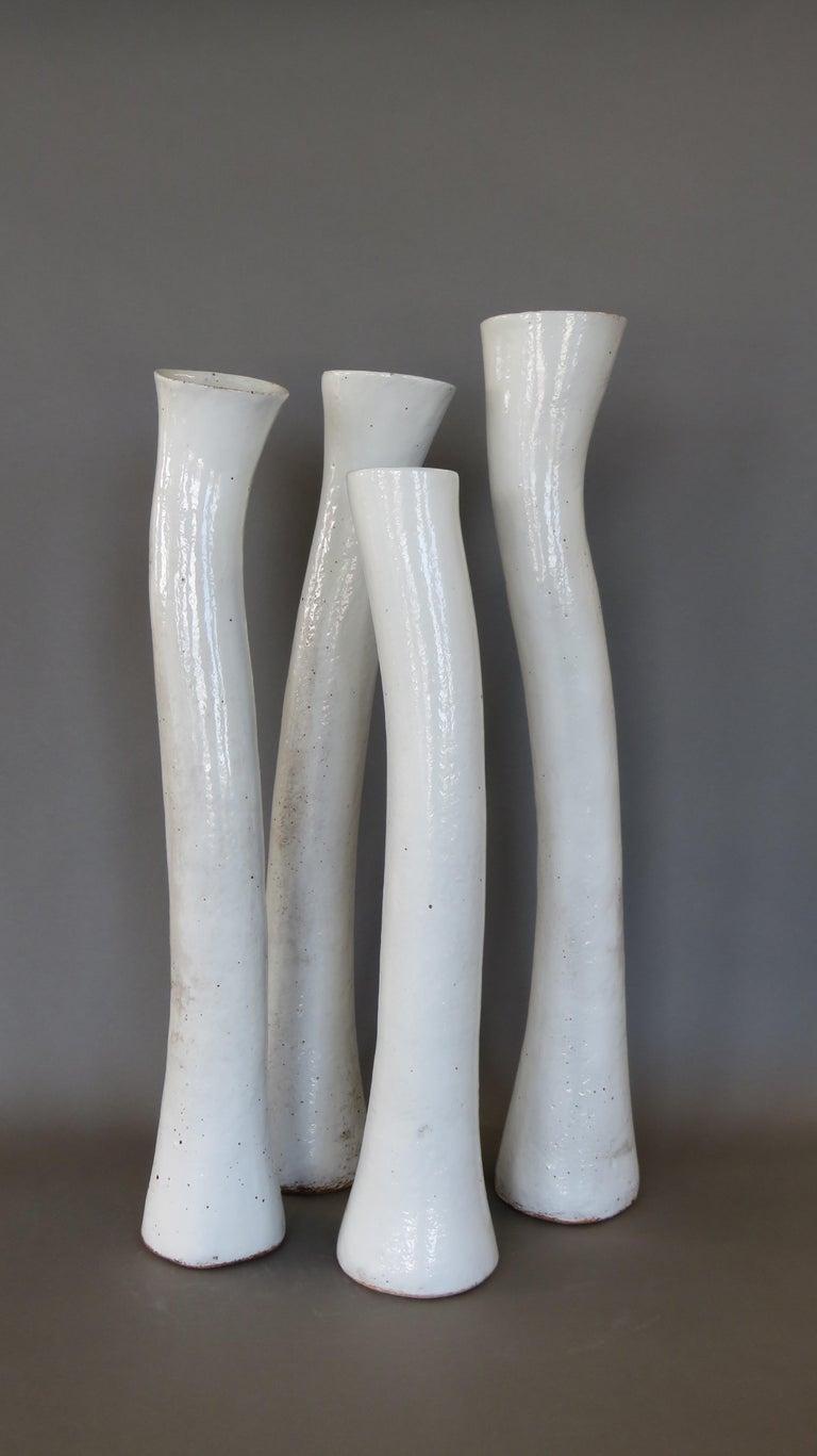 Undulating Handbuilt Ceramic Vase, in White Split-Glaze, 25.25 Inches Tall For Sale 10