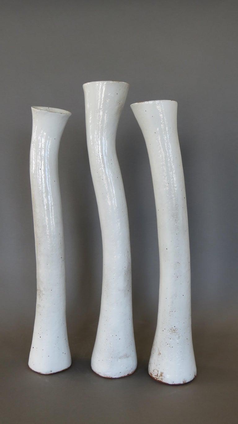 Undulating Handbuilt Ceramic Vase, in White Split-Glaze, 25.25 Inches Tall For Sale 11
