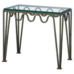 Undulating 'Méandre' Verdigris Iron and Glass Side Table by Design Frères