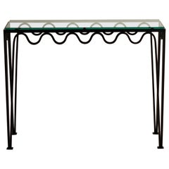 Undulating 'Méandre' Wrought Iron and Glass Console by Design Frères