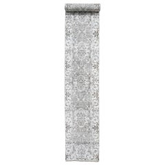 Undyed Natural Wool Heriz Design Extra Large Runner Hand Knotted Oriental Rug