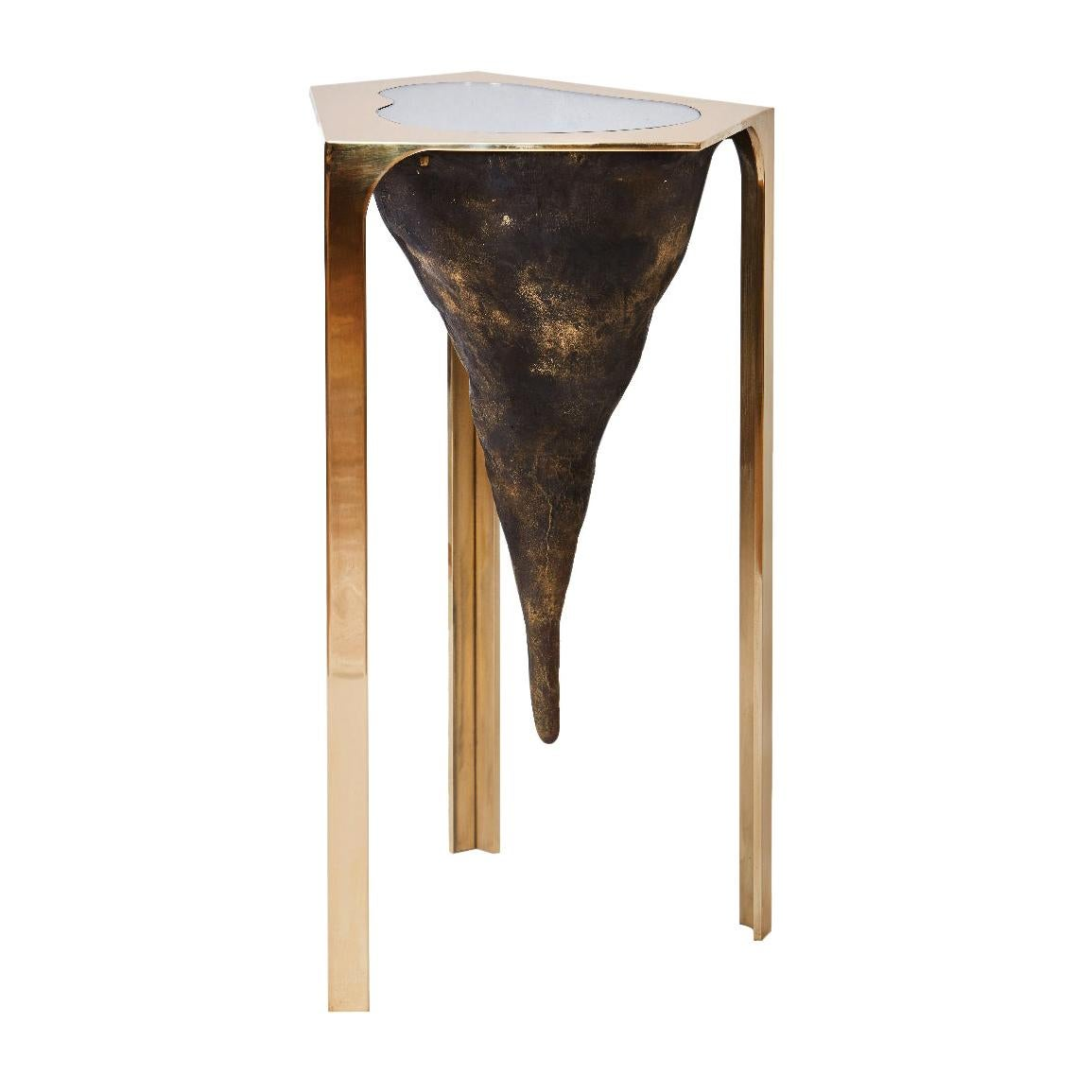 Unearth Table in Bronze, Glass, and Brass by Cam Crockford
