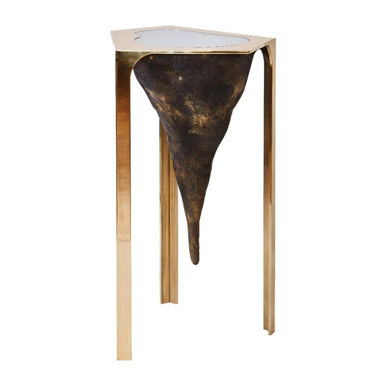 Unearth Table in Bronze, Glass, and Brass by Cam Crockford For Sale