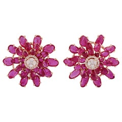 Uneven-Shaped Rose-Cut Ruby and Diamond Earrings, Set in 18 Karat Rose Gold