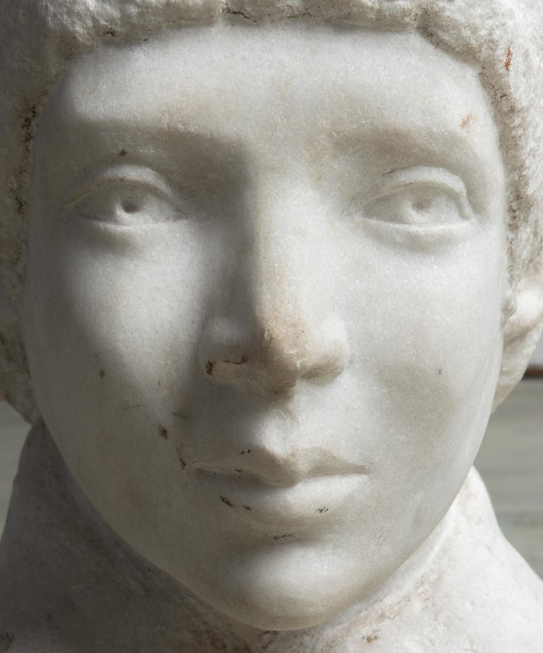 American Unfinished Marble Bust, circa 19th Century For Sale