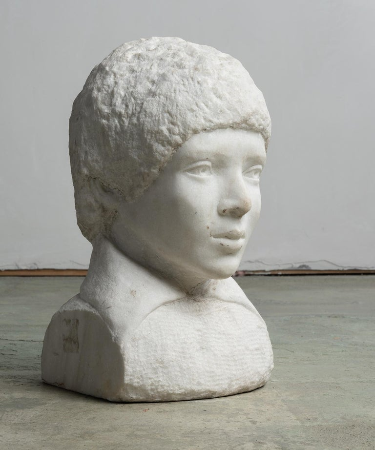 Hand-Carved Unfinished Marble Bust, circa 19th Century For Sale