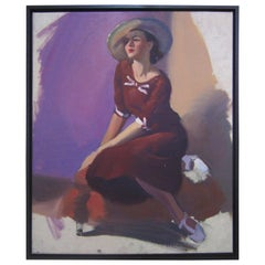 Unfinished Portrait of a Young Lady in Violet, circa 1940s