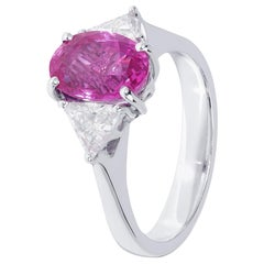 Unforgettable 3.20 Carat Pink Sapphire and White Diamond Three-Stone Ring