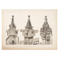 Unframed Architectural Print, Italy, Early 1900s