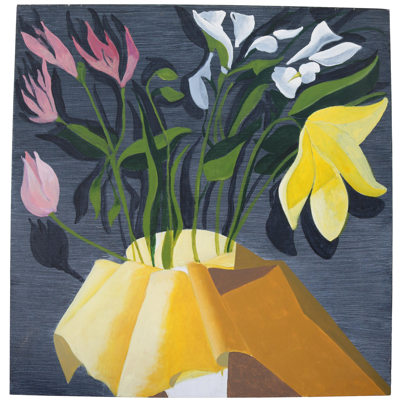 Unframed Oil Painting of Flowers by David Segel