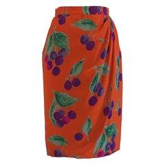 Ungaro 1980s Red Orange Grape Print Draped Silk Skirt Purple and Green