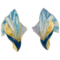 Ungaro Art Nouveau Style Blue Resin Clip Earrings