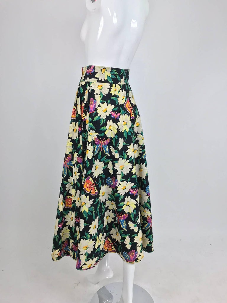 b6a7a3f8c1 Ungaro cotton floral butterfly print high waist full skirt, 1980s For Sale 7